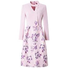 Женское вечернее платье с длинным рукавом, зимнее платье с принтом размера плюс, весна 2019(Китай)