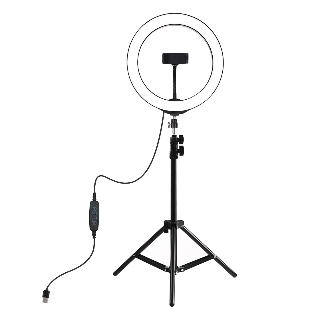 Dimmable LED Ring Light with 360 degree Rotatable Phone Holder for YouTube Lighting Portrait Video Shooting Make Up
