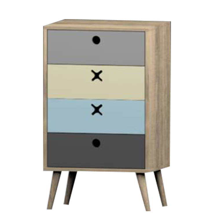 Cheap Wooden Simple Drawers Four Tier Night Stand