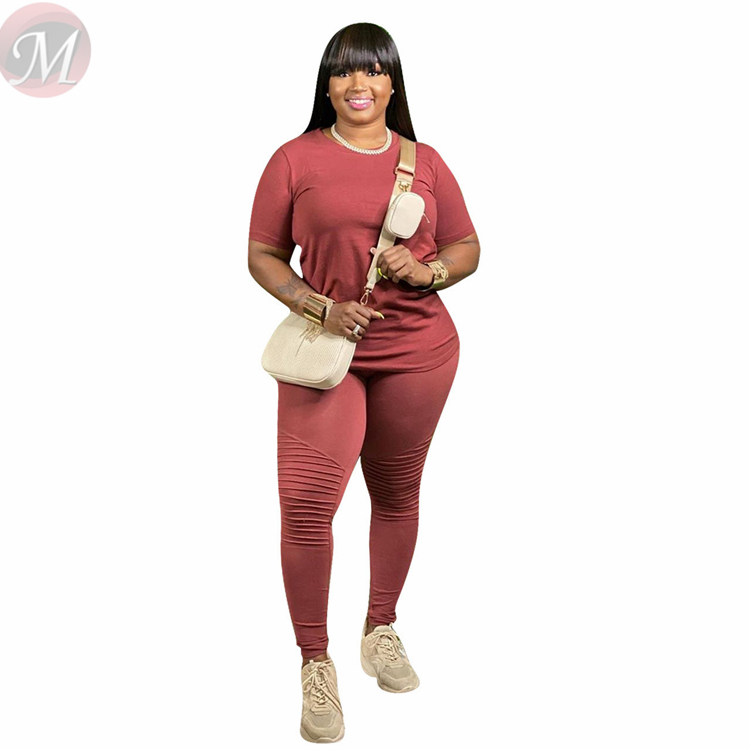 Latest Design Casual Fashion Large Size Solid Color Top And Pants Sexy 2 Pcs Track Suit Outfits Two Piece Set Women Clothing