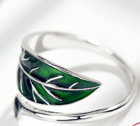 Real 925 Sterling Silver Green Leaf Rings Men Women Fashion Enamel Blue Leaves Rings Adjustable Christmas Gift