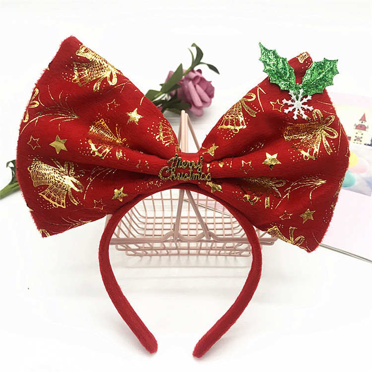 High Fashion Headband Sequin Big Bow Hair Hoop Halloween Christmas Cosplay Party Headband Hoop