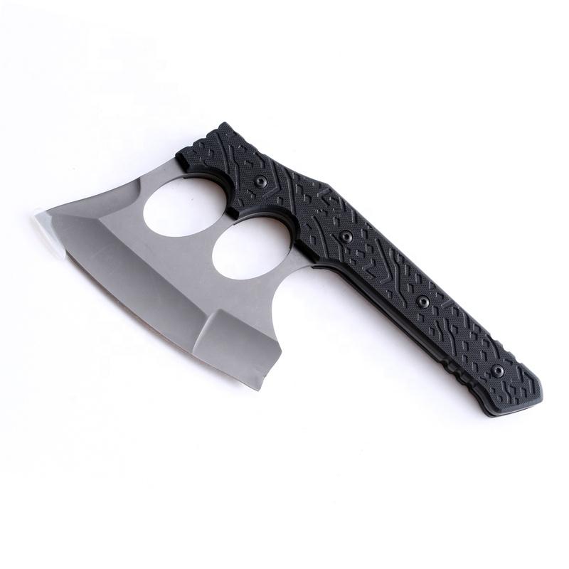 Cuchillo táctico de combate con mango de plástico, hoja gris de titanio, para acampar al aire libre, utilidad, oxido, color negro