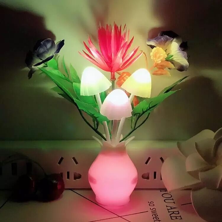 <strong>Color</strong> changing Plug-in LED Mushroom Dream Bed Lamp Sensor Led Night <strong>Light</strong>
