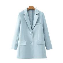 [DEAT] Женская мода 2020, офисная одежда, однобортный Блейзер, пальто, винтажная женская верхняя одежда с длинными рукавами и карманами, шикарные...(Китай)