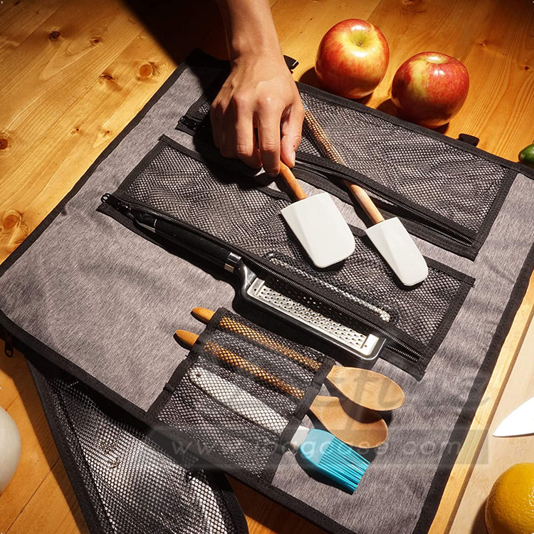 Factory Portable Lightweight Chef Cutlery Roll Bag Knife Tool Bag