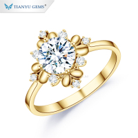 Tianyu gems flower jewelry solid 10k yellow gold 1.0 carat moissanite diamond pave rings for women
