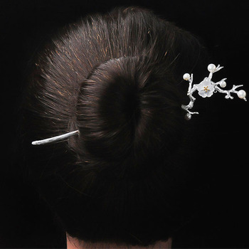 High quality elegant delicate white crystal 925 sterling silver hairpin
