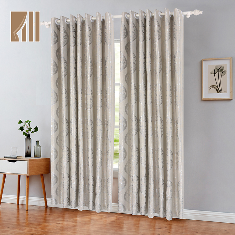 Gris plata al por mayor de jacquard listo ventana cortinas