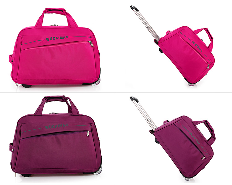China wholesale different colors rolling luggage, custom handle trolley bag sizes