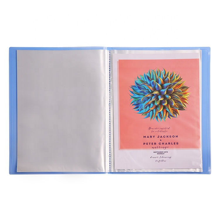 A4 Translucent Flexible Clear Display Book, Glossy Transparent Cover Clear Book with 10 to 100 Pockets
