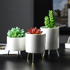 Home decoration solid color succulent plant metal triangle ceramic flower pot