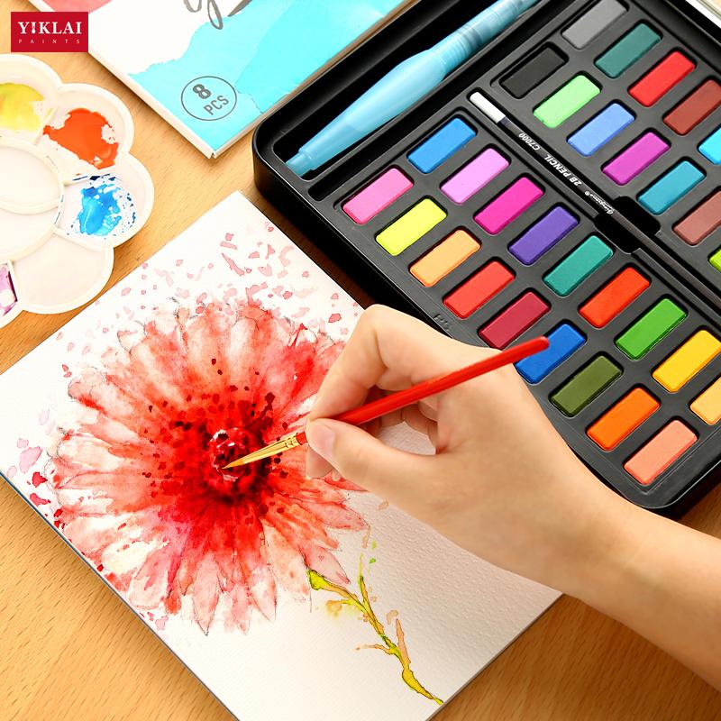 36 Kleuren Dagelijks Tekening Poeder Art Schilderen Massief Aquarel Verf Set
