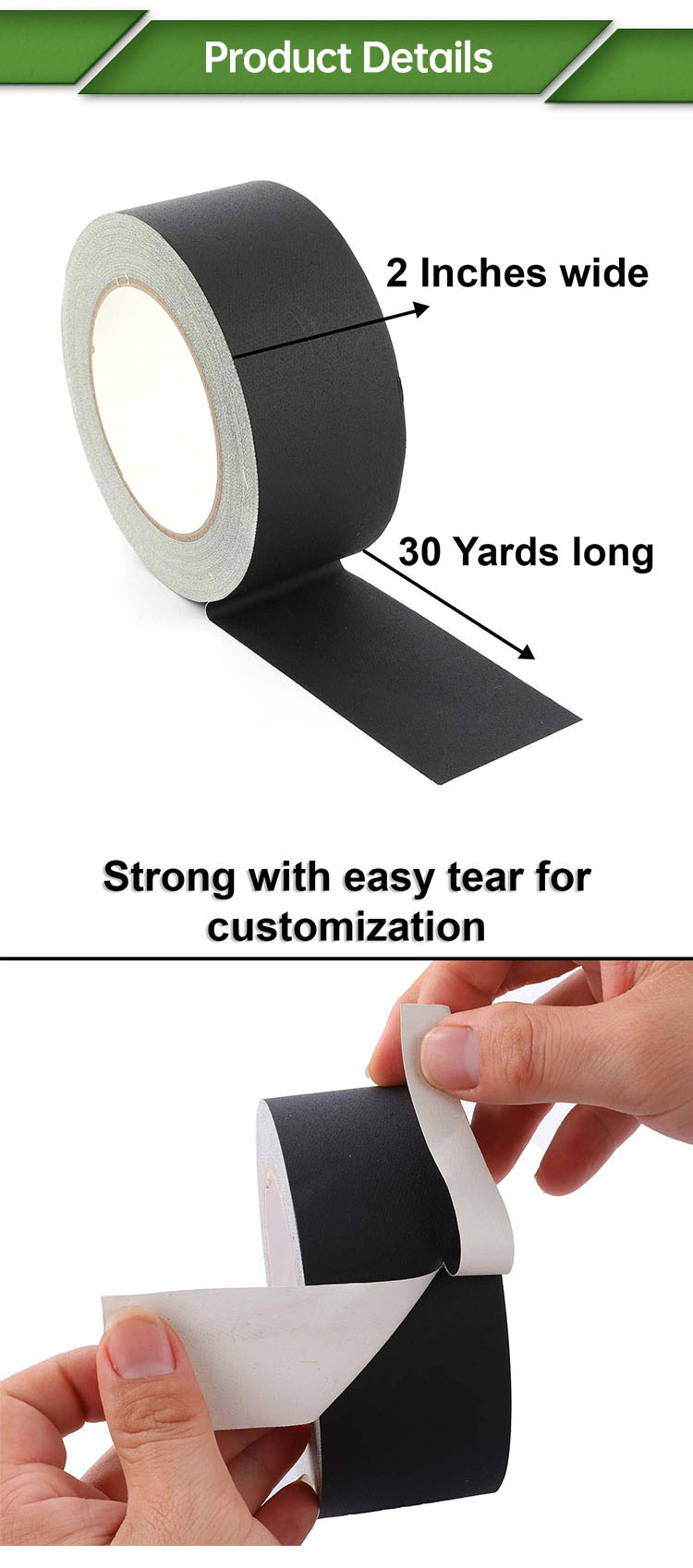 Matte Cotton Cloth Surface Black Custom Gaffer Duct Stage Camera Protection Tape