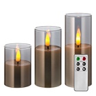 set of 3 real flame D5 pillar grey glass timer remote battery operated home decoration wedding led candle set