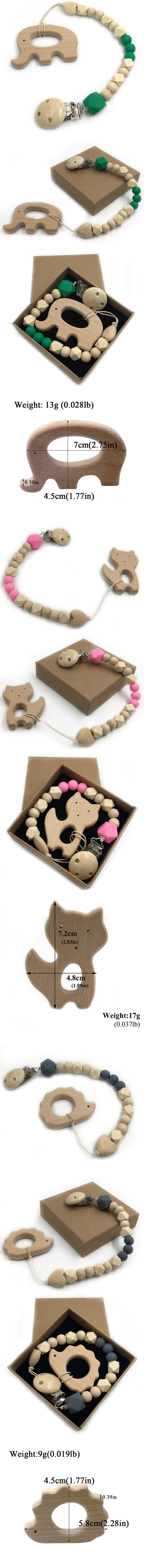 2pcs-set Animal Shape Natural Teething Grasping Toy Bead Toddler Organic Silicone Wooden Baby Teether