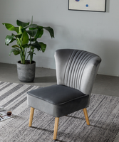 Grey color leisure with vertical line design and solid wood legs