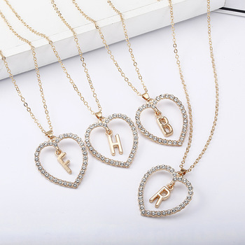 Wholesale Valentines gifts A to Z Necklace Fashion Diamond heart 26 English Gold Letters Necklace