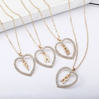 Wholesale Fashion Diamond heart with 26 English Gold Letters Necklace