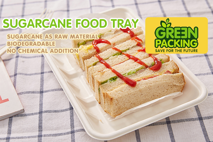 composable rectangular food tray made from Bagasse