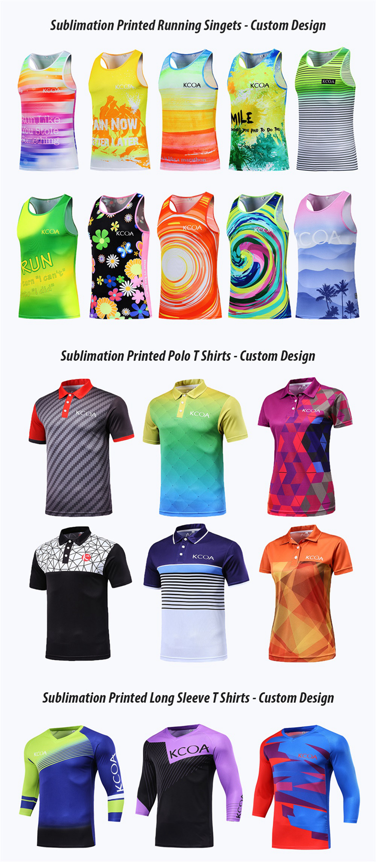 KCOA 100% Polyester Quick Dry Sportswear Custom Printing Sublimation Running Tank Top