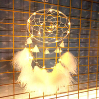 New Style Dream Catcher Moon Design Handmade White Feather Wall Hanging Home Decoration Ornament Craft Gift LED Home Decoration