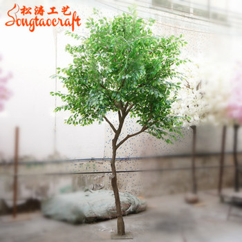 Guangzhou Indoor Solar Mini Real Wood Trunk Mall Decorative Artificial Plants Ficus Trees