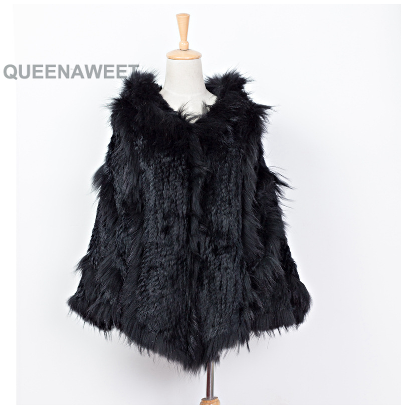 Factory Wholesale Best-Selling Scarf Shawl Rabbit Fur Hand Knitted Fur Shawl with Raccoon Fur Collar