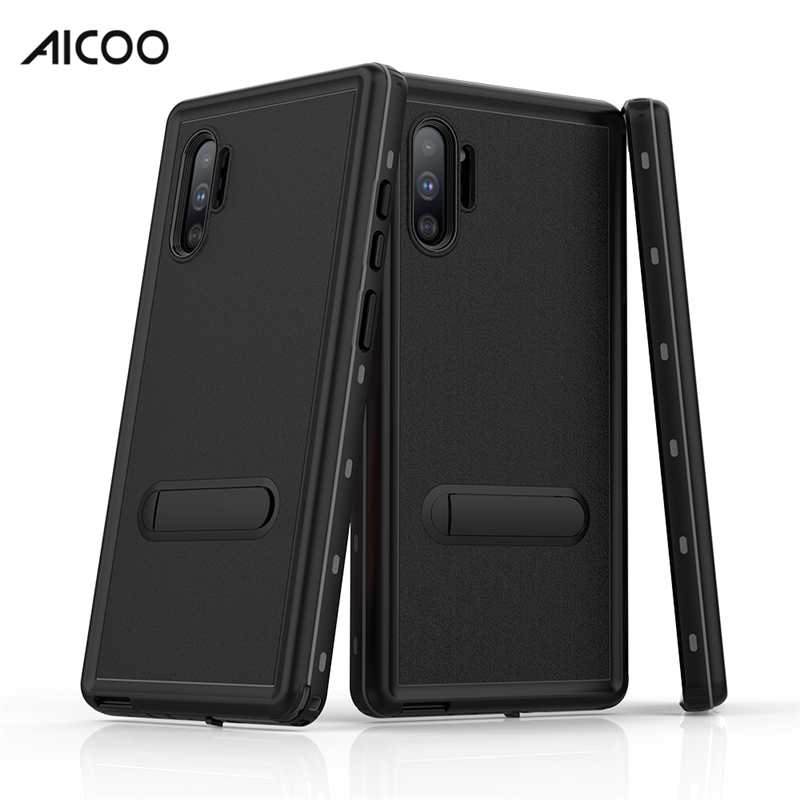 4 in 1 360 Full Protective Kickstand Waterproof with Screen Protector Retail Package Cell Phone Case For Samsung Note 10 Plus