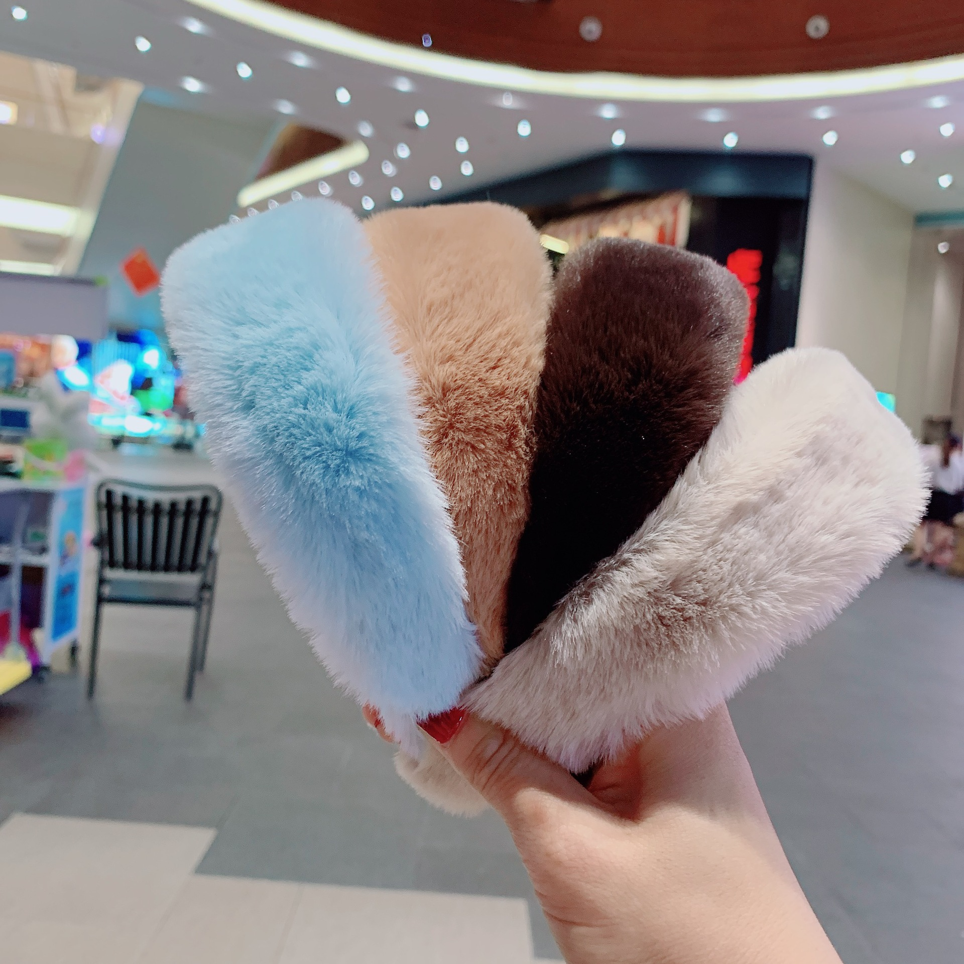 2020 new designer wide edge thick hair band autumn winter rabbit furry women headband