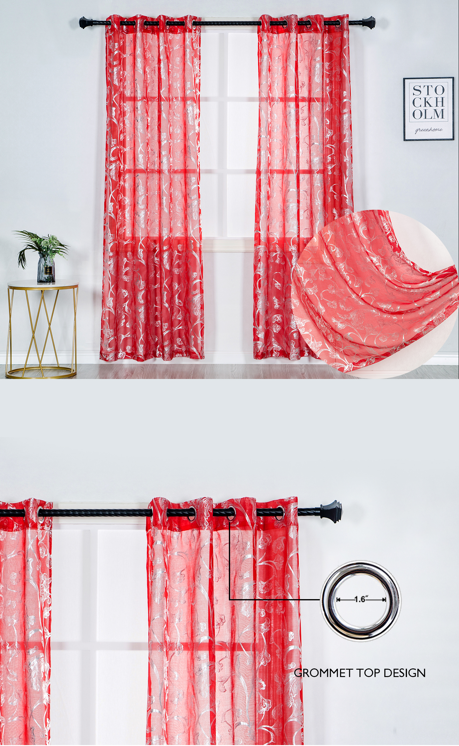 Metallic silver flora printed indian ready made sheer curtain fabric for bedroom