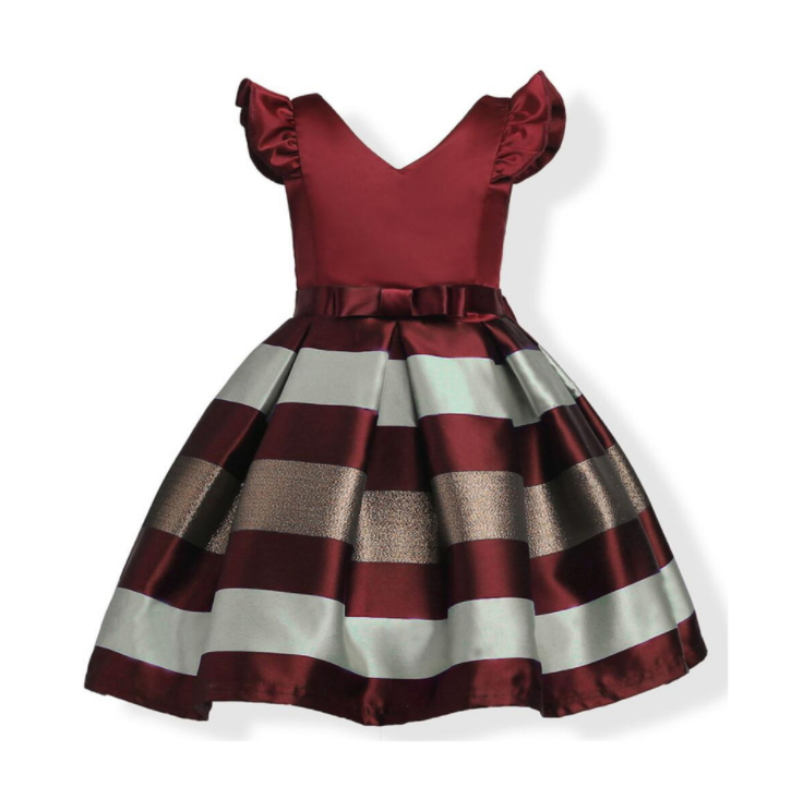 Children's Christmas dress princess  striated dress