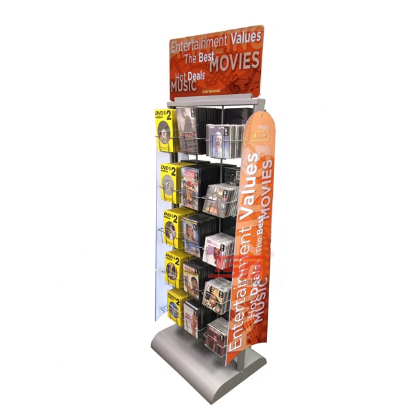metal retail dvd display stands cd display racks