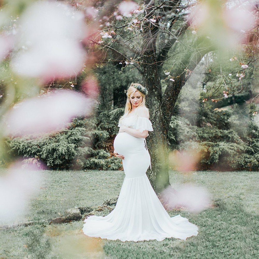 Для женщин с открытыми плечами длинный рукав для беременных платье для фотографии шифон платье для фотосессии
