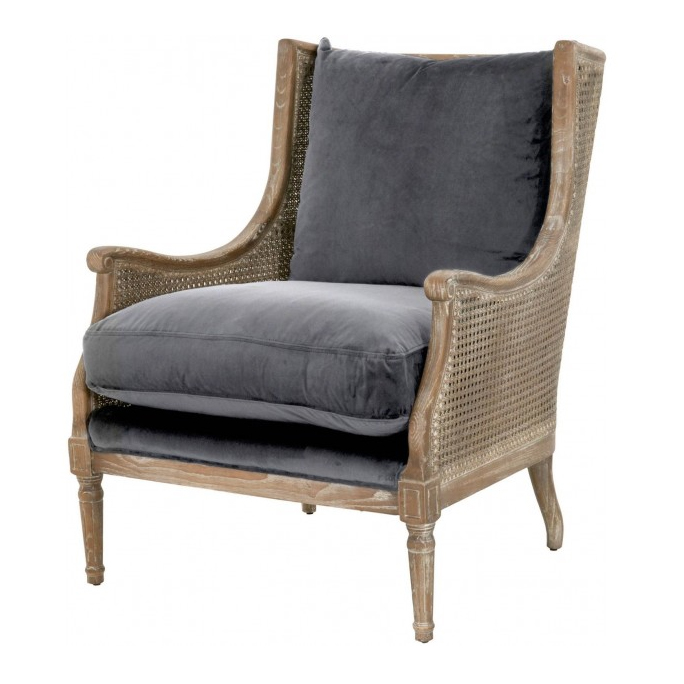 French country velvet club cane armchair