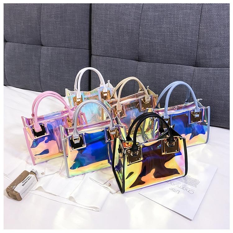 बड़ी क्षमता होलोग्राफिक निविड़ अंधकार पारदर्शी ढोना बैग स्पष्ट पीवीसी जेली बैग हैंडबैग महिलाओं