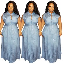 2020 Groothandel Custom Private Label Vrouwen Plus Size Kleding Knop Denim Dames <span class=keywords><strong>Casual</strong></span> Sexy Mode Jurk