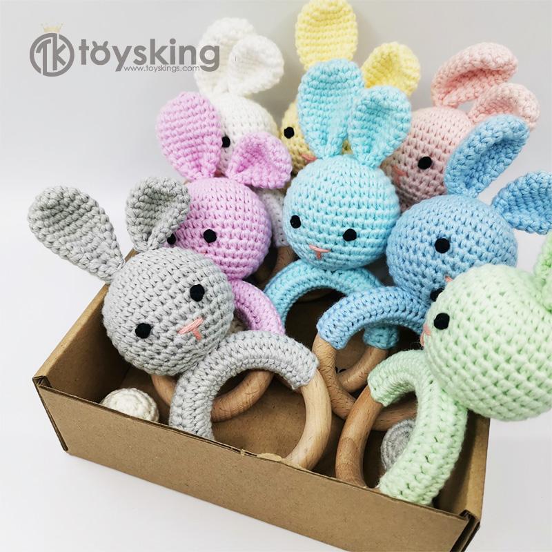 TK Handicraft Hook Crochet Rabbit Rattle Toy with Natural Beech Wooden Teeth Bunny Amigurumi for Wholesale