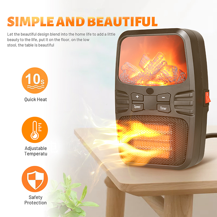 New 1000W Fan Household Desktop Winter Warmer Heating Machine Flame Lamp Portable Electric Heater with Remote Controller
