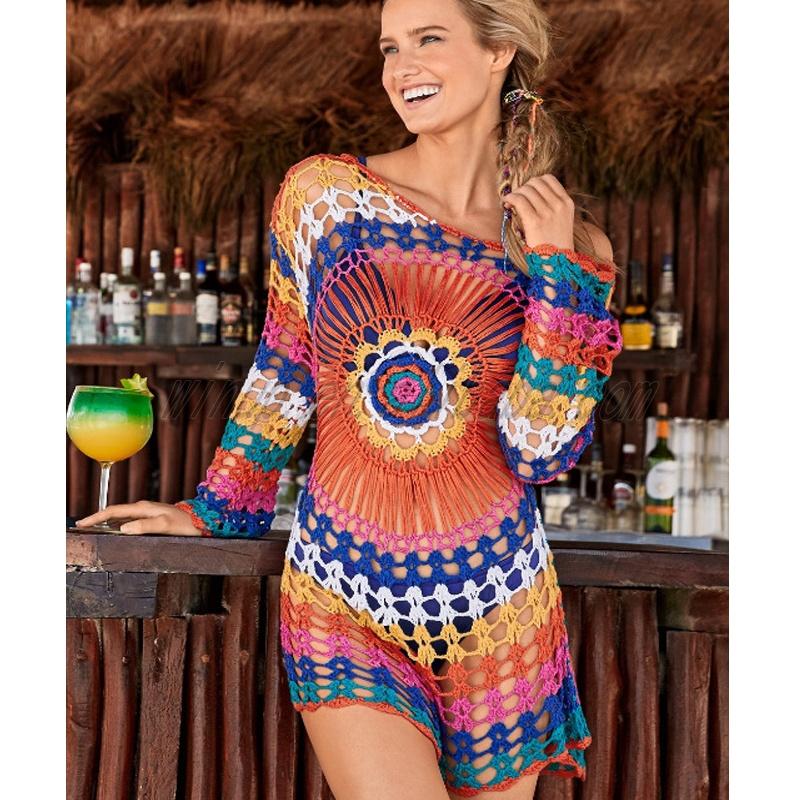 Nueva Llegada Color Arco Iris De Manga Larga Playa Vestido De Verano Vestido