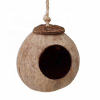 New Natural Coconut Shell Bird Nesting House Cage With Hanging Lanyard For Small Pet Parakeets Finches Sparrows Cages Nests