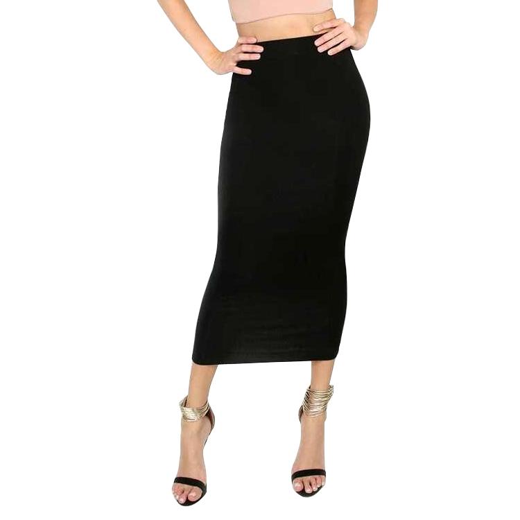 Slanna 新ファッション A ラインハイウエスト女性固体ミディペンシルスカート