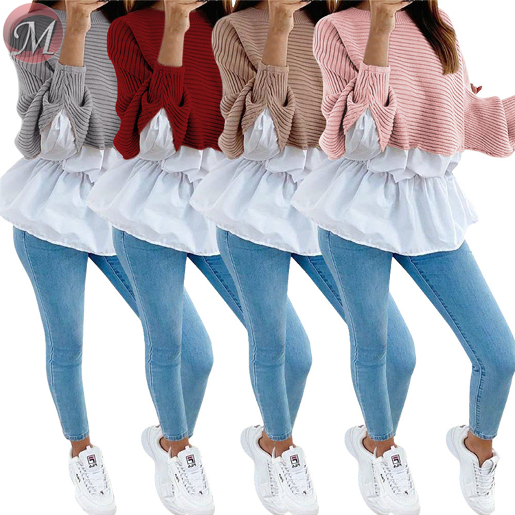 0011410 sexy fashion casual tops round neck batwing sleeve patchwork Tops And Blouses Women Winter Clothes