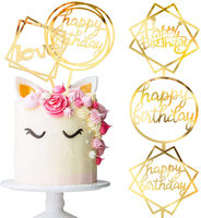 Glitter Birthday Acrylic Cake Toppers Supplies Gold Happy Birthday Cupcake Topper Wedding Party Decor Supplies Cupcake Toppers