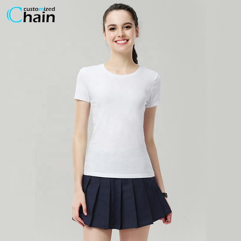 100% algodón, impresión personalizada, logo, Color liso, Camiseta cuello redondo, camiseta para mujer