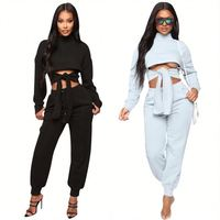 11040NA Design Fashion Crop Top Front Tie Solid Casual Women Two Piece Set 2020 Outfits Clothing