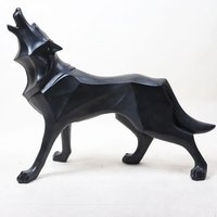 OEM Art Statue Outdoor Decoration Geometric Life Size Statue Large Fiberglass Wolf Statues