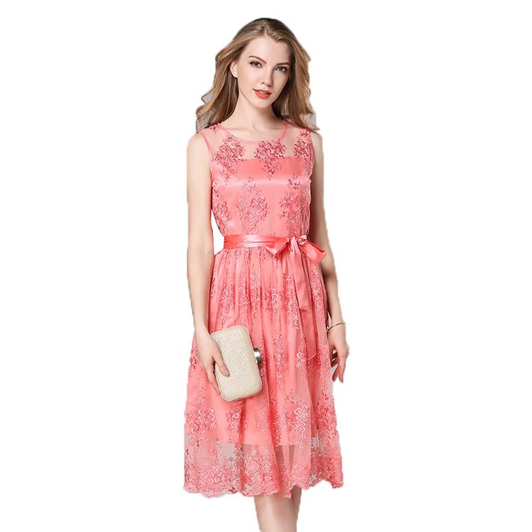 Gaun Renda Merah Karang Wanita, Gaun Tanpa Lengan Anti-keriput Musim Panas Gaya Baru dengan Bordir