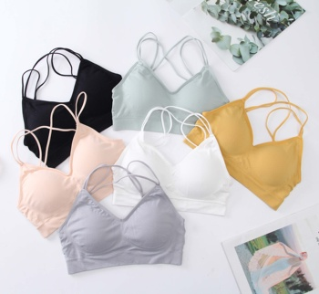 Factory Hot Young Girls Sexy Sport Bra Seamless Padded Bra Breathable Comfortable Night Wear Wireless Bra