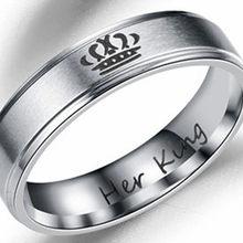 Новинка, кольца из нержавеющей стали в стиле панк для женщин, король, королева, ювелирное изделие для пары, обручальное кольцо для мужчин, Ин...(Китай)